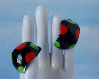 Black, Green and Orange, Hand Enameled Clip on Earrings.