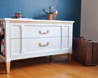 Modern Gray Chest with Gold and Jewel Tone Detail