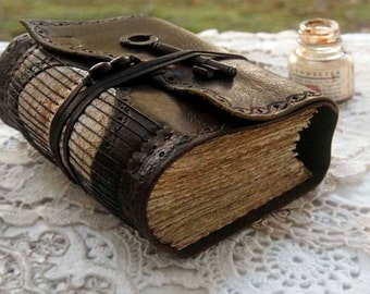 Memoirs - Dark Brown Leather Journal, Over 430 Tea Stained Pages, Vintage Lace, OOAK