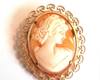 50% OFF Krementz Carved Shell Cameo Gold Filled Vintage Pin Brooch