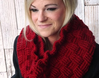 Chunky Infinity Cowl - Red Basket Weave Cowl - Hooded Cowl - Red Winter Cowl - Chunky Winter Cowl - Textured Scarf - Infinity Scarf