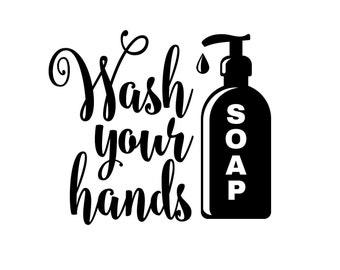 Wash your hands - vinyl lettering wall decal - door decal for bathroom - children - wash your hands wall decal - bath wall decor - bathroom