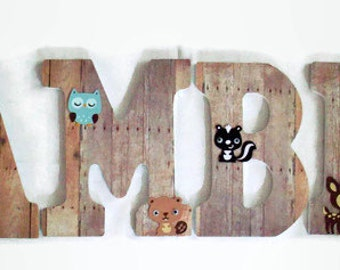 Woodland Nursery Letters - Wood Letters - Gender Neutral Nursery Decor - Forest Animals Wooden Letters - Animal Nursery Letters - Weathered