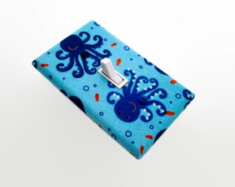 Octopus Light Switch Cover - Nautical Nursery Decor - Octopus Switch Plate - Octopus Boy Bedroom Decor - Bathroom Decor - Light Switch Plate