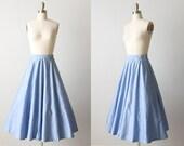 Vintage 1950s Blue Cotton Full Skirt / Vintage 1950s Skirt / 50s Skirt / Panel Skirt