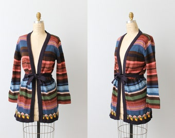 Bohemian Sweater / Space Dyed Sweater / 1970s Sweater / Wrap Sweater / Belted / Bell Sleeves