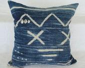 "18""  INDIGO African MUD CLOTH Batik Pillow Cover, mud cloth, tribal, boho"
