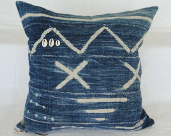 "18""  INDIGO African MUD CLOTH Batik Pillow Cover, mud cloth, tribal, boho"