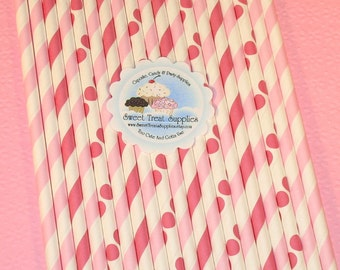 NEW - Pastel Pink & Razzleberry Striped and Dot Straws  (Qty 24)  DIY Flag Toppers - Straws, Pink Striped Straws, Pink Polka Dot Straws