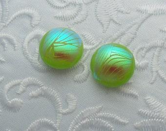 Dichroic Earrings - Stud Earrings - Post Earrings - Fused Glass - Glass Earrings - Small Post - Green Earrings X1308