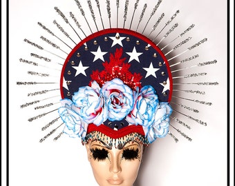 Murica…. Halo Headdress in Red White and Blue Stars and Stripes With Flowers and Glitter