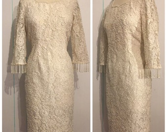 White Beaded  Wedding Dress Size 12 - 14