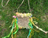 spring flower fairy - rustic hand knit hemp treasure bag