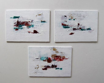 """White acrylic abstract paintings on canvas, small triptych, instant collection, Original Expressionist art, 5"""" x 7"""", gift idea"""