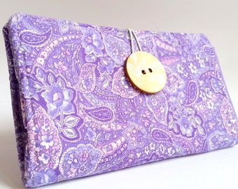 Tampon and Pad Holder in Lavender Purple Ditzy Floral Handmade Privacy Wallet - Aunt Emily's Hankie