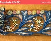 Fall 25% Off SALE- Stunning Antique Tulle French Embroidered Lace Trim Art Nouveau