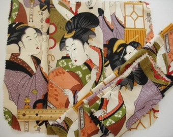 """KNITTING BAG APRON - Ready To Sew  - Alexander Henry rare Asian """"dokusho"""" 2006 - Allow 2-3 weeks for delivery"""