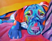 Large Oil dog Painting On Linen Canvas, Size 28x34