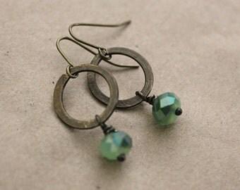 Boho Jewelry, Brass Metal Earrings, Bohemian Jewelry, Vintaj Jewelry, Statement Earrings, Green Earrings, Brass Earrings, Made to Order