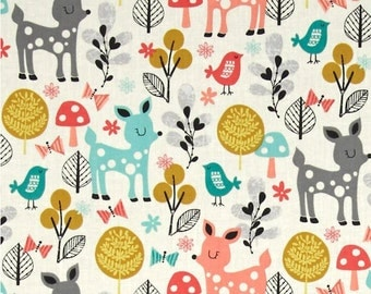 Acorn Forest Fabric - Robert Kaufman Fabric - Acorn Forest Sorbet Fabric - Wendy Kendall Fabric - Deer Quilt Fabric - Forest Collage Park