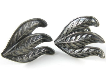 Vintage Sterling Silver Leaves Screw Back Earrings