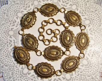 Brass Concho belt, Metallic belt, Western belt, Southwestern belt, Concho belt