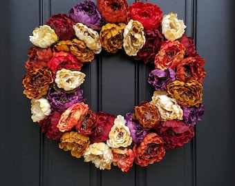 Fall Wreaths, Front Door Fall Wreath, Fall Peony Wreath, Fall Colored Wreath, Colors of Fall, Wreaths for Fall, Autumnal Wreaths