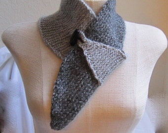 Hand Knit Neck Warmer Shawl in Two Shade of Gray