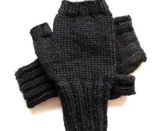 Texting Gloves for Men, Teen Boys, Fingerless Gloves, black gloves, men's mitts, wool gloves, hand knit gloves, hand warmers, size S