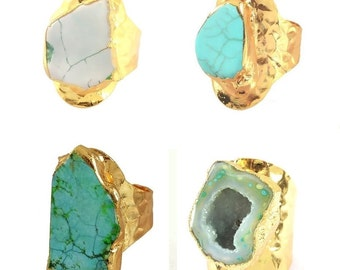 Turquoise Howlite Geode Ring Adjustable Hammer Gold Plated Band Large Wide Chunky Boho Bohemian Electroformed Blue Green Light Gray Hot Pink