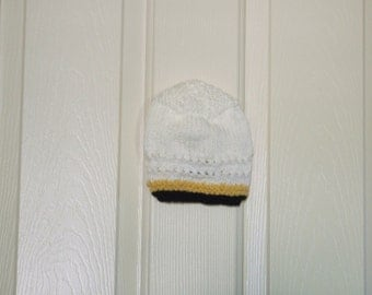 Hand Knitted - White Baby Hat with Yellow and Black Trim