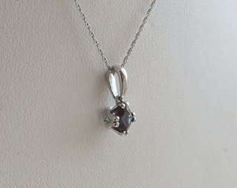 "14K White Gold Color Change Gemstone Pendant 18"" Necklace, Synthetic Alexandrite, petite with fabulous sparkle, free US first class shipping"