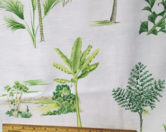 Waverly Fabric 114x57 Home Decor Fabric Yardage Tropical Toile Palm Trees 3.2 yd Upholstery Drapery Malaya Green White