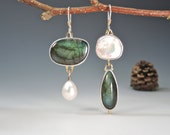 Green Labradorite and Pearls, Dangle Earrings, Sterling Silver,14kt Gold, Artsy, Elegant RESERVED for Debbie