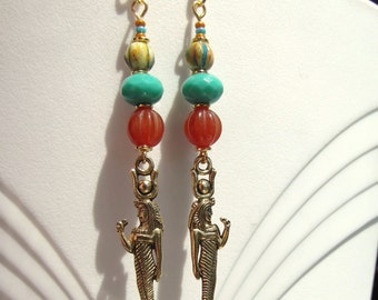 Egyptian Revival Goddess Hathor Carnelian and Turquoise Glass Earrings