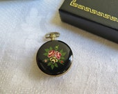 Vintage Pocket Watch/Pendant Enameled Black Floral by Lexon Swiss Made