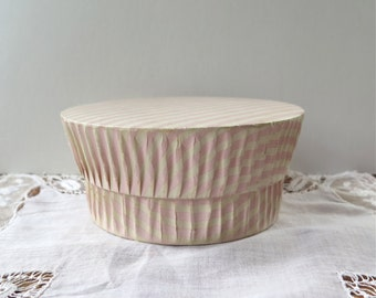 French Candy Box/Paper Pleated Box /Pink Striped by Martial Dragiste Champs Elysees Paris Vintage 1960's