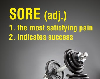Sore Definition Decal, fitness motivation, sport decal, workout room decor, decal for weight lifters, gym decal