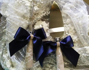 Wedding Cake Knife Set,Wedding Accessories,Cake Server,Cake Knife,Navy Wedding,Lace Cake Server