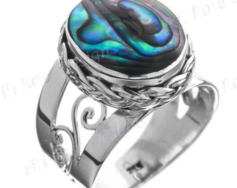 Design Oval Paua Abalone Shell 925 Sterling Silver Sz 9 Ring