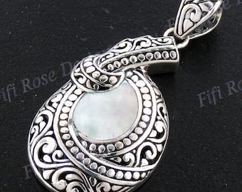 """2"""" Gorgeous Mother Of Pearl 925 Sterling Silver Pendant"""