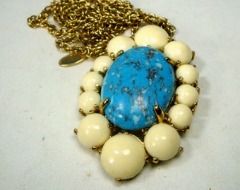 Large Glam Ann Taylor Vintage Pendant, Turquoise and Cream Fancy Stone Oval on Long Gold Chain, Immaculate
