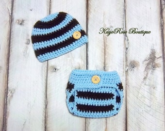 Newborn Baby Boy Crochet Hat and Diaper Cover Set Blue and Brown Stripes