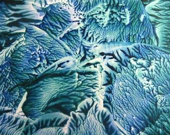 4X6 Teal & Blue Abstract Encaustic (Wax) Original Painting / Postcard Size Art / Desk Art / SFA (Small Format Art)