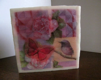 4x4 Encaustic Butterfly, Bird & Rose I on Cradled Birch Panel. Wax Mixed Media Collage. Pink, Green, Purple. SFA (Small Format Art)