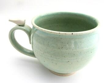 Large Handmade Pottery Mug With a Peaceful White Bird