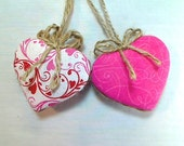 Pink Heart Ornaments | Party Favors | Wedding Bridal | Valentines Day | Holidays | Spring Decor | Handmade | Tree Ornament | Set/2 | #2