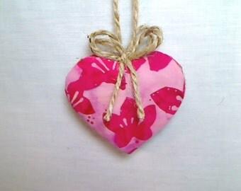 Pink Batik Heart Ornament | Valentines Day | Spring Decor | Party Favor | Birthday | Tree Ornament | Holidays | Decoration | Handmade | #1