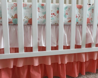 Custom Crib Bedding Set - Floral and Coral Ombre -  Baby Girl Bedding