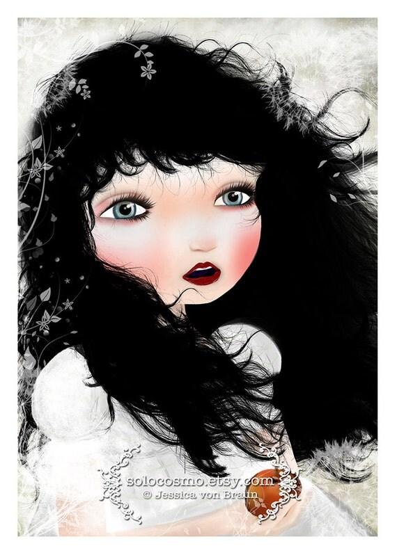 "5x7 Fine Art Print - ""Snow White"" - Nursery Art illustration - Child's Bedroom Artwork - Jessica von Braun - Fairy Tale Art - Big Eye Art"